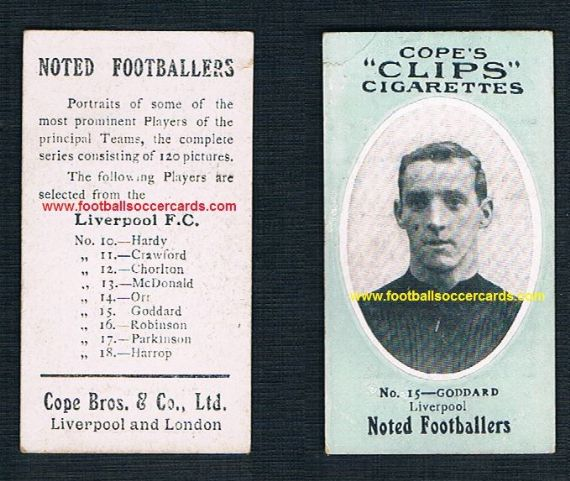 1908 Cope Brothers Noted Footballers 120 series Liverpool 15 Goddard